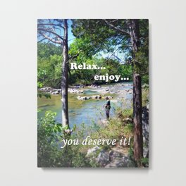 Gone Fishing Card Metal Print