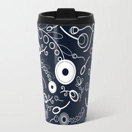 Flowers on navy blue Travel Mug