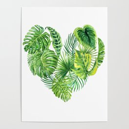 heart made of watercolor tropical leaves Poster