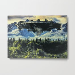 The alien ship over the forest Metal Print