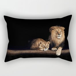 Cute lion and lioness - happy big cat family lie on the wooden log. Beautiful animals photo on dark background Rectangular Pillow