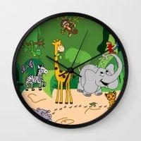 jungle Wall Clocks featuring JUNGLE by Rebecca Bear