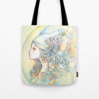 zodiac Tote Bags featuring Zodiac - Aquarius by Hellobaby