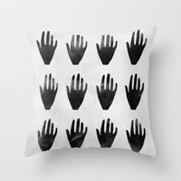 hands Throw Pillows featuring hands by namaki
