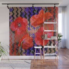 Summer Joy, abstract waves with poppies Wall Mural