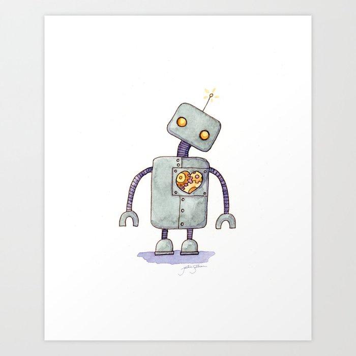 Robot With A Heart Art Print