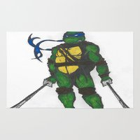 ninja turtles Area & Throw Rugs featuring Ninja Turtles Leo by minusblindfold