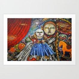 Luna-Mistica - Mystical Moon and Constellations Surrealist portrait by Alejandro Colunga Art Print