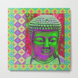 Budda Pop in Green, Purple and Red Metal Print