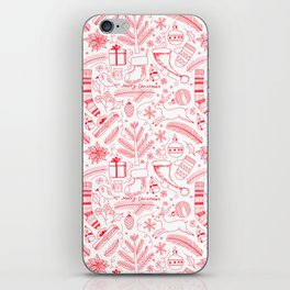 Doodle Christmas pattern red iPhone Skin