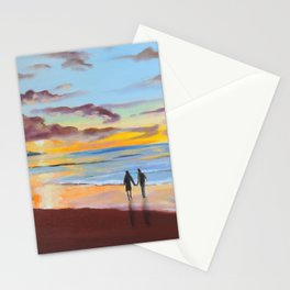 Romantic painting, couple at the beach Stationery Cards