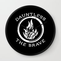 divergent Wall Clocks featuring Divergent -  Dauntless The Brave by Lunil