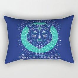 Wild & Free Wolf – Navy Rectangular Pillow