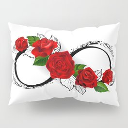 Infinity Symbol with Red Roses Pillow Sham