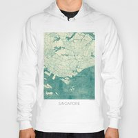 singapore Hoodies featuring Singapore Map Blue Vintage by City Art Posters