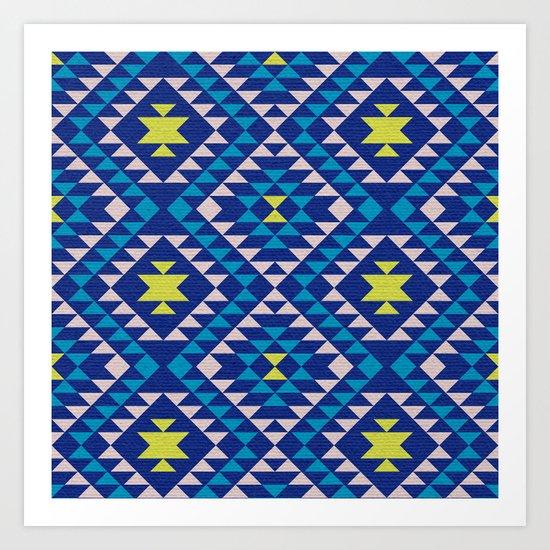 Tribal geometric pattern - blue Art Print