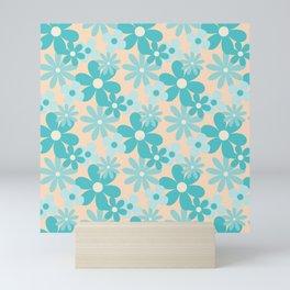Aquamarine Retro Floral Pattern Mini Art Print