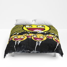 Awesome Smiley Faces Yellow Emoticon                                      Comforters