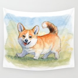 Funny Welsh Corgi 859 Wall Tapestry