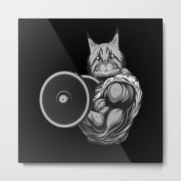 Weight Lifter Cat Fitness Toning Gym Metal Print