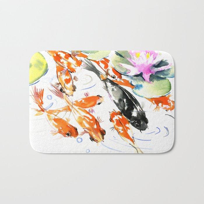 Nine Koi Fish, 9 KOI, feng shui artwork asian watercolor ink painting Bath Mat