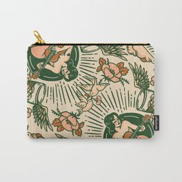 Whiskey & Lyrics Pattern Featuring A Pinup Girl Playing Guitar, Peach Cream Version Carry-All Pouch