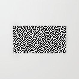 Black and White Organic MAZE Pattern Hand & Bath Towel