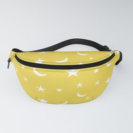 White moon and star pattern on yellow background Fanny Pack
