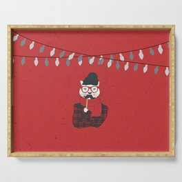 Festive Hipster Cat Serving Tray