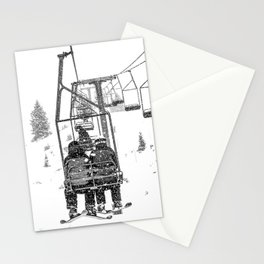 Snow Lift // Ski Chair Lift Colorado Mountains Black and White Snowboarding Vibes Photography Stationery Cards