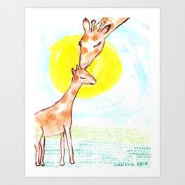 Mama and Baby Giraffe Art Print