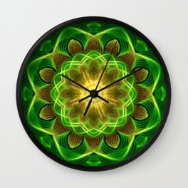 Emerald Orb Mandala Wall Clock