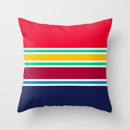 PreppyPatterns™ - Nautical Multi-stripe - cherry red, emerald green, gold, ruby, azure blue, navy Throw Pillow
