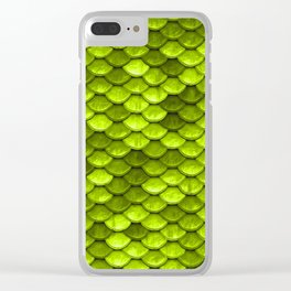 Beautiful Key Lime green mermaid fish Scales Clear iPhone Case