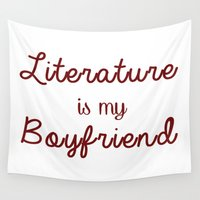boyfriend Wall Tapestries featuring literature is my boyfriend red by Beautiful Bibliophile's Boutique