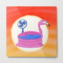 Flamingo Heat Wave Metal Print