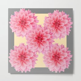PINK DAHLIA FLOWERS IN YELLOW-GREY Metal Print