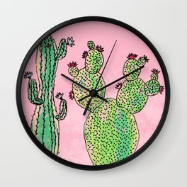 Woman and man cactus Wall Clock