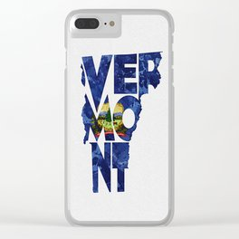 Vermont Typographic Flag Map Art Clear iPhone Case