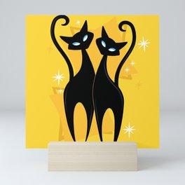 Sunshine Spectacular Atomic Age Black Kitschy Cats Mini Art Print