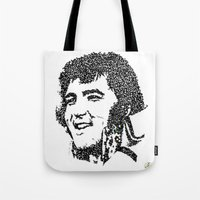 elvis presley Tote Bags featuring Elvis Presley by The Curly Whirl Girly.