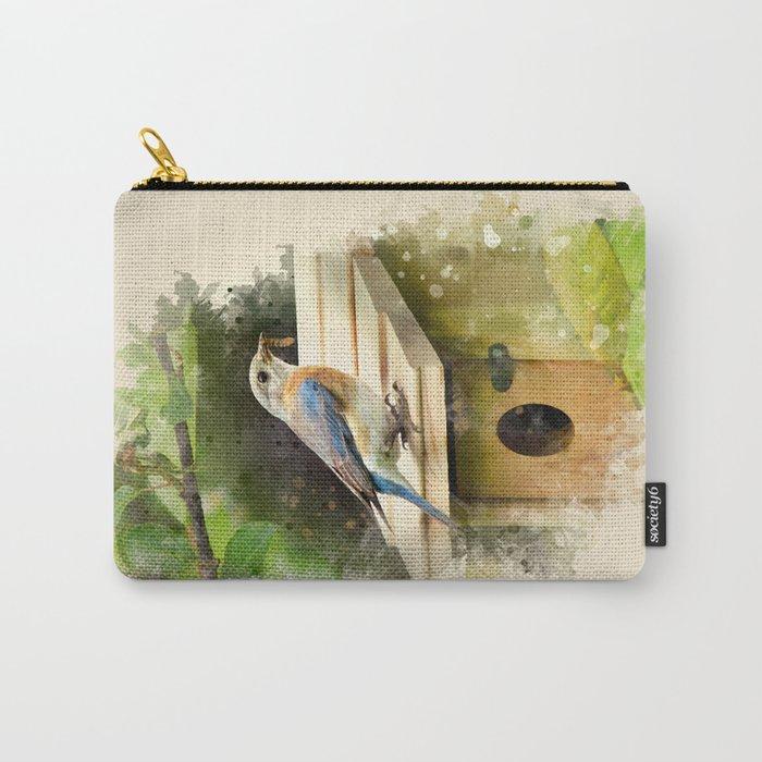 Watercolor Bluebird Art Carry-All Pouch