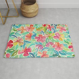 Tropical Floral Watercolor Painting Rug