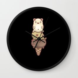 Cats Ice Cream Waffle Ice Cream Kitten Ball Ice Wall Clock