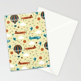 Flying Planes Seamless Pattern Stationery Cards