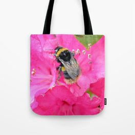 Bumble Bee on Pink Rhododendron Flowers Tote Bag