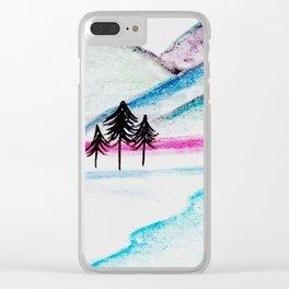 Watercolor blue landscape Clear iPhone Case
