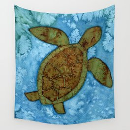 Turtle on the Reef Wall Tapestry