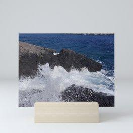 Ocean Waves Crashing on Rocks Mini Art Print
