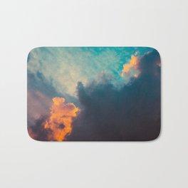 Clouds illuminated and rising sun Bath Mat